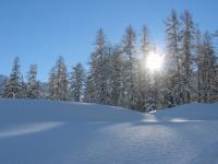 schneelandschaft mit sonne