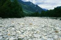 Trockengelegter Flussabschnitt der Maggia (© SGS)